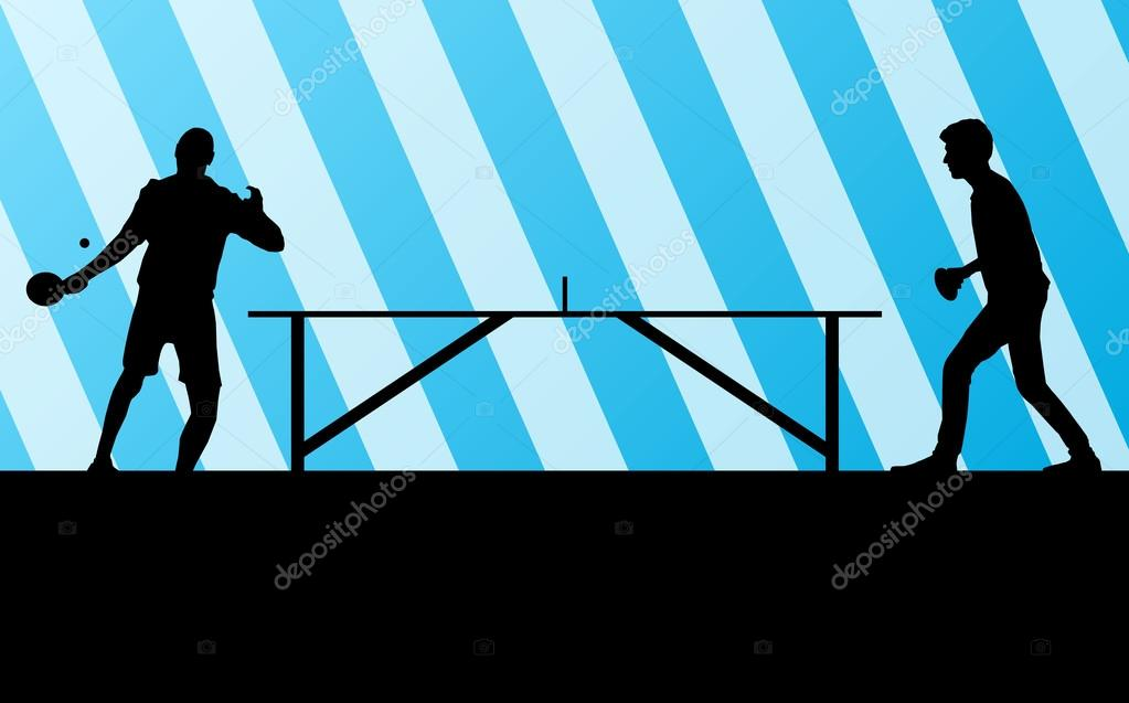 Table Tennis Player Silhouette Ping Pong Vector Background