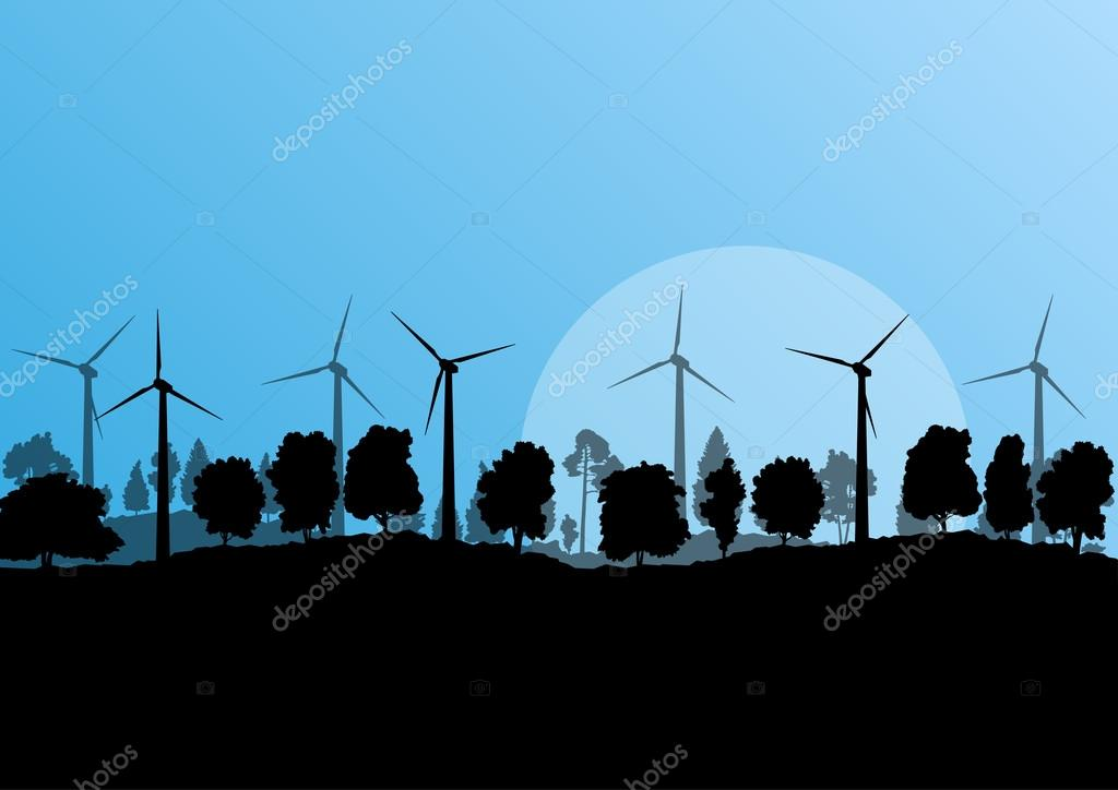 Alternative energy electricity wind generators in countryside fo