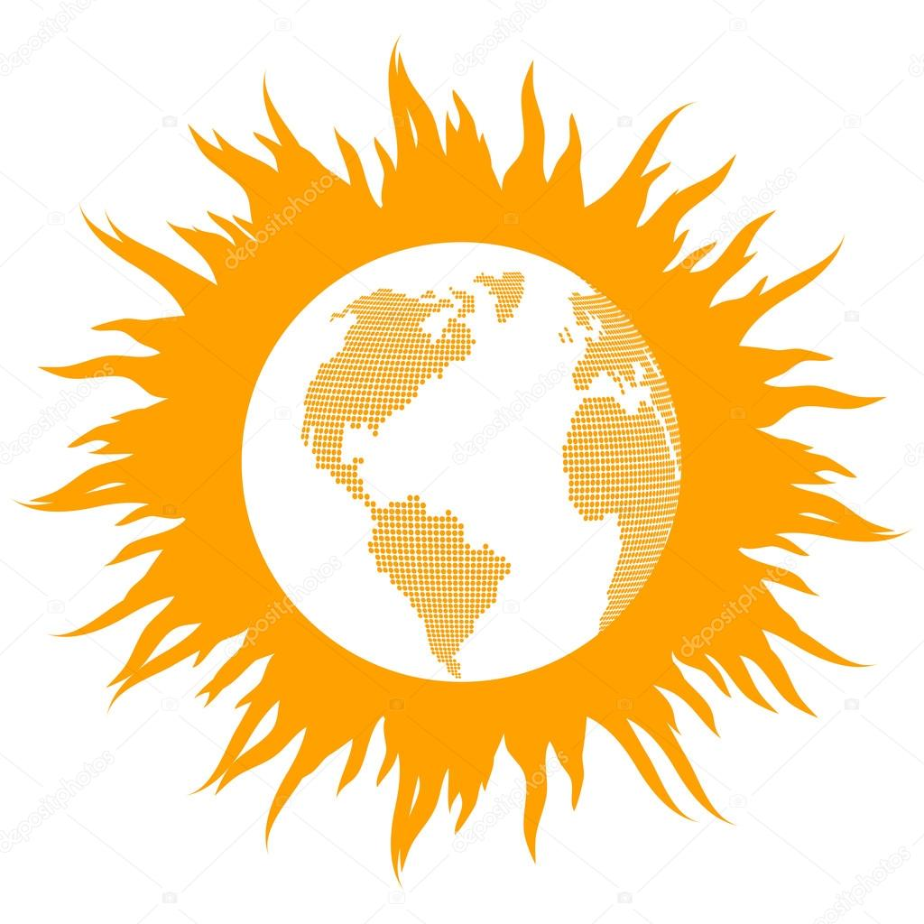 Global warming concept with burning globe like sun vector backgr