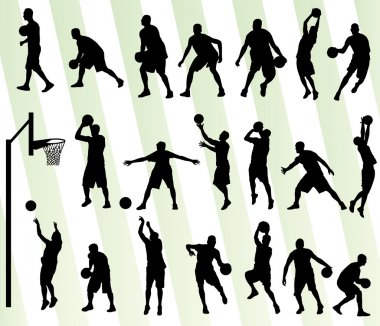 Man basketball vector background silhouette set