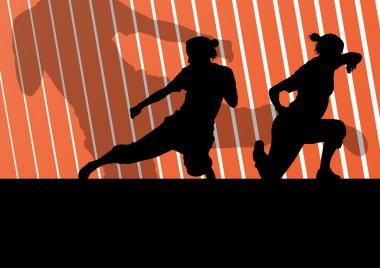 Martial arts active women self defense fighters silhouettes illu