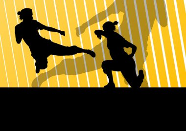 Martial arts active women self defense fighters silhouettes illustration background vector stock vector