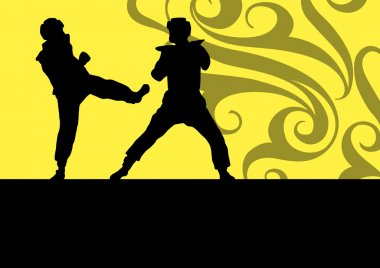 Active tae kwon do martial arts fighters combat fighting and kic