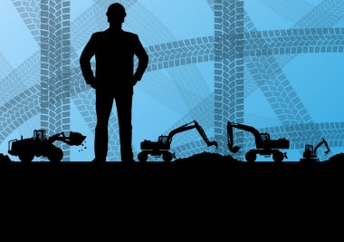 Engineer woman with excavator loaders and tractors digging at in