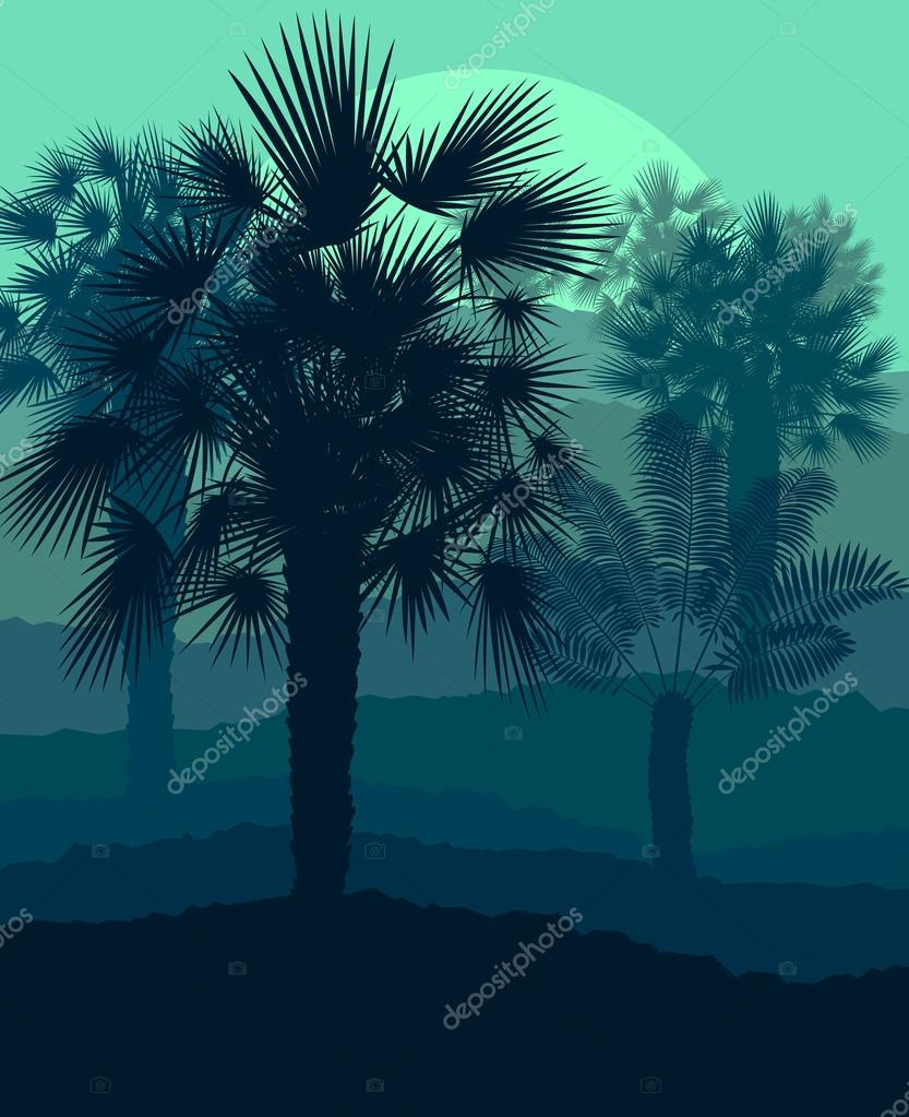 Palms tropical sunset mysterious vector background