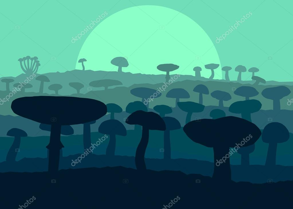 Mushrooms landscape in front of forest autumn vector background