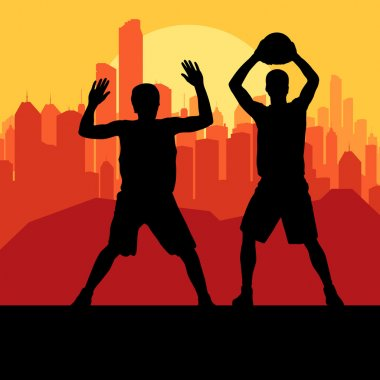 Basketball players in front of city sunset vector background