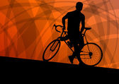 Photo Active cyclist bicycle rider active sport silhouette vector back