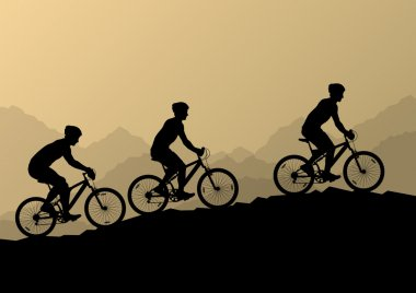 Active men cyclists bicycle riders in wild mountain nature lands