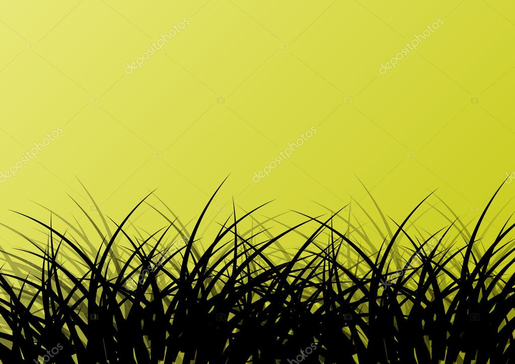 Grass detailed silhouette landscape illustration background vect