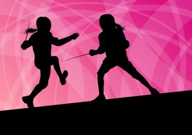 Sword fighters active young women fencing sport silhouettes vect
