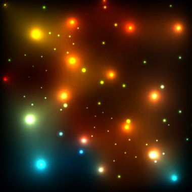 Glowing stars in space glitter vector background template concep