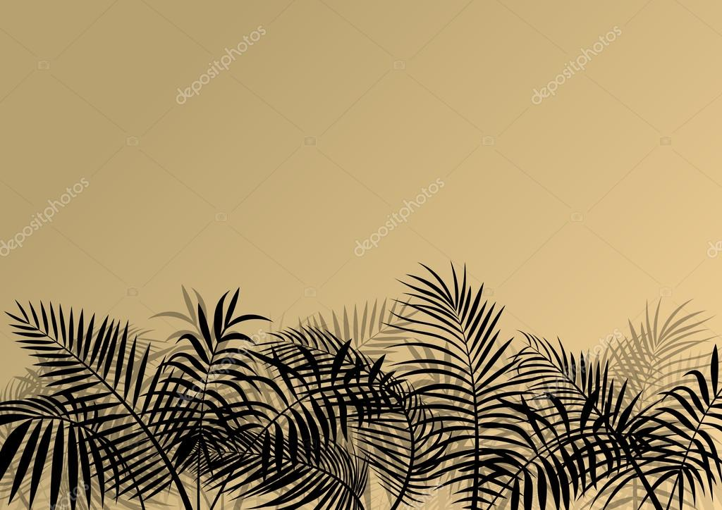Exotic jungle forest plants, leafs and grass detailed silhouette