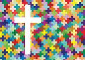 Křesťanství náboženstvím kříž v pozadí abstraktní koncept mozaika