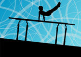 Active children sport silhouette on parallel bars vector abstrac