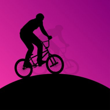 Extreme cyclists bicycle riders active children sport silhouette