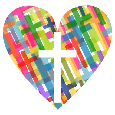 Christianity religion cross mosaic heart concept abstract backgr