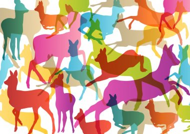 Doe venison deer silhouettes in abstract animal background illus