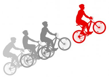 Sport road bike riders bicycle silhouettes vector background win