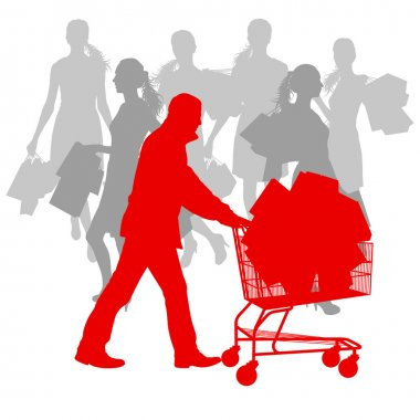 Women with shopping bags and man with shopping cart vector backg