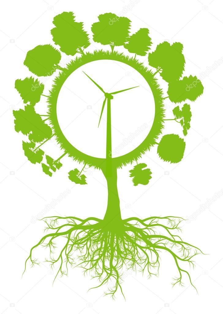 дерево мира глобус экологии Векторный фон концепт с ...