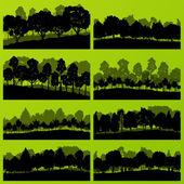lesní stromy siluety přírodní divoká krajina podrobné úsporných