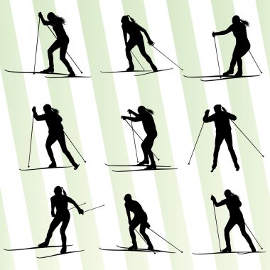 Active young woman skiing set sport silhouette vector background