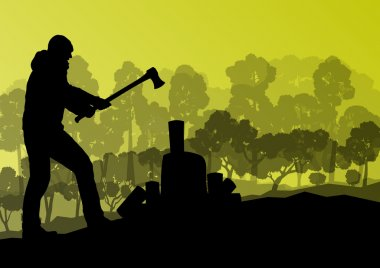 Logger woodcutter with ax in wild mountain forest nature landsca