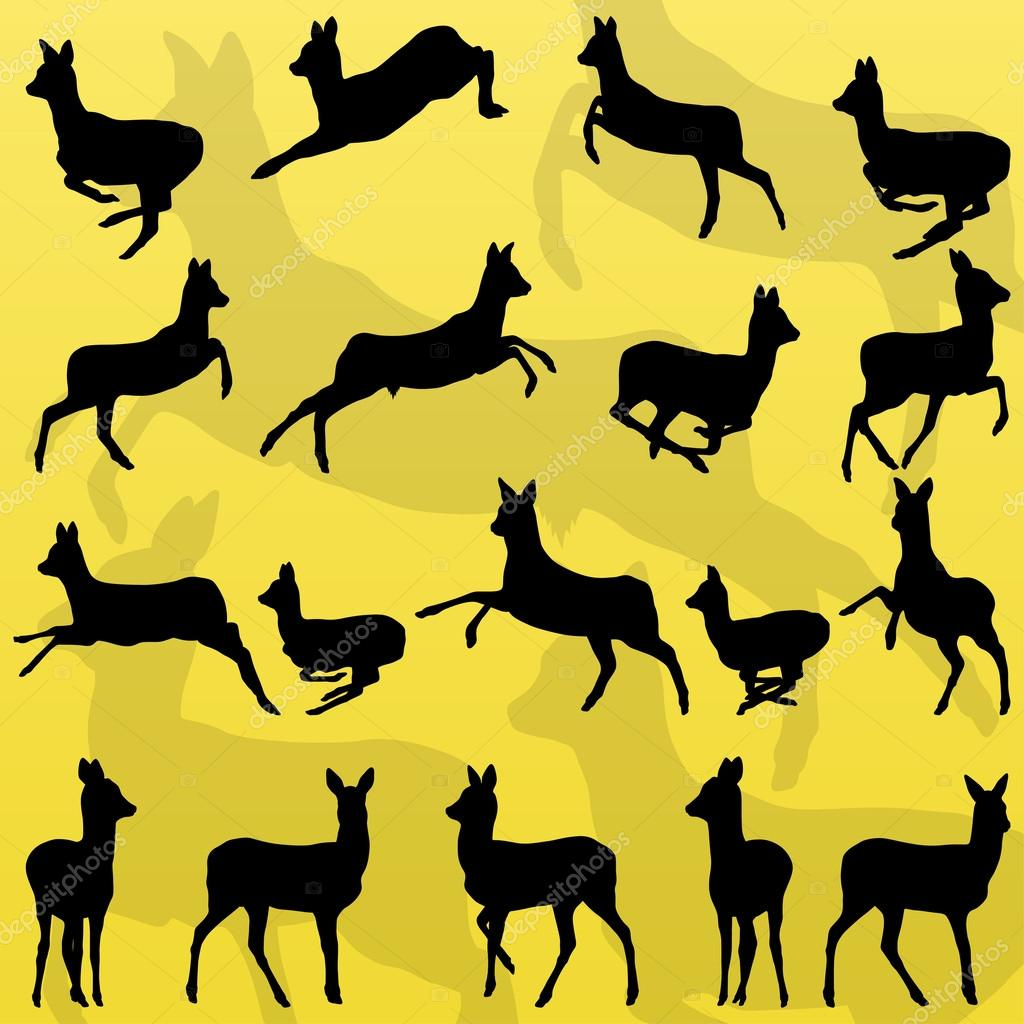 Doe venison deer wild forest animals silhouettes illustration co