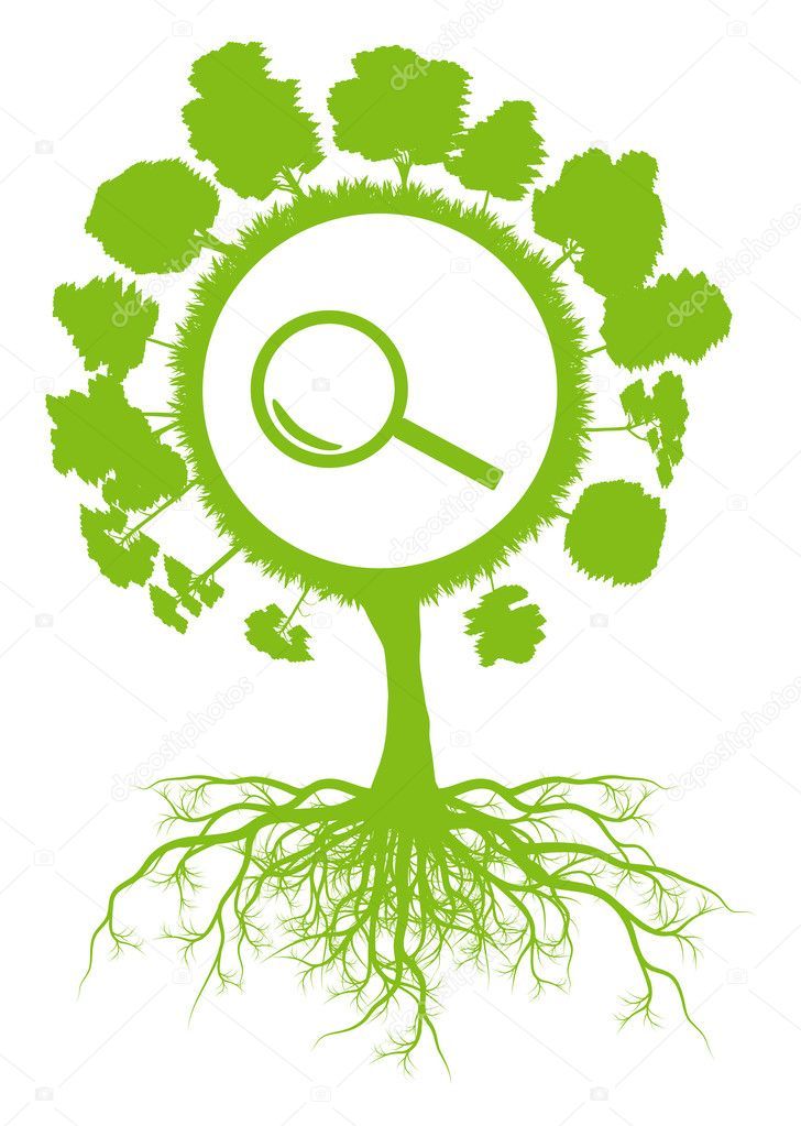 Ecology environmental green tree with roots and magnifier search