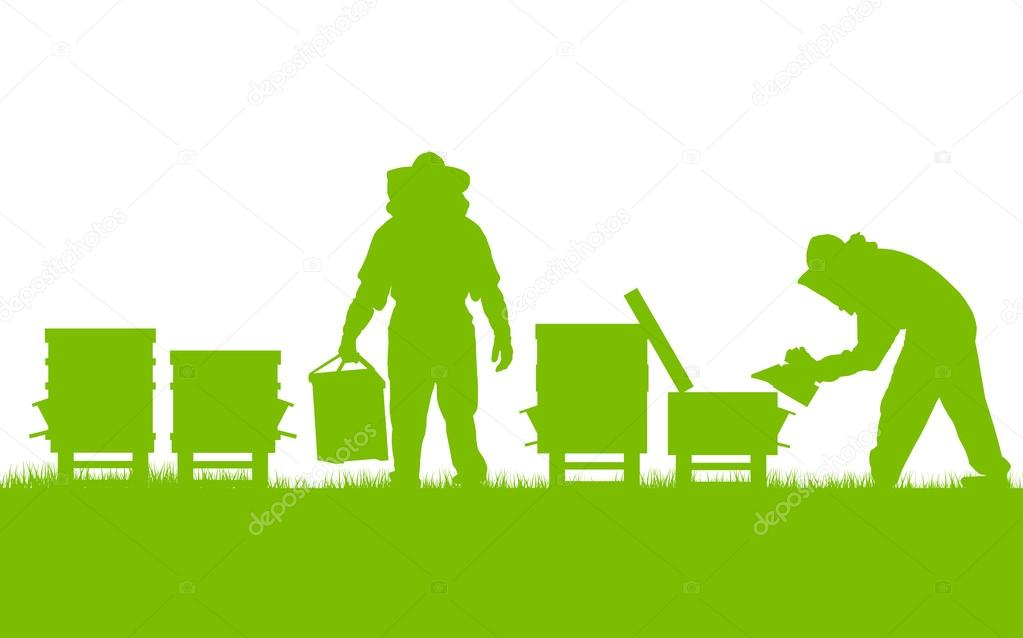 Beekeepers working in apiary vector background ecology concept c