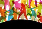 Fotografie aktive junge Männer und Frauen Straße Pause Tänzer Silhouetten in eine