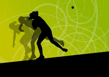Active shot putter woman sport athletics ball throwing silhouett