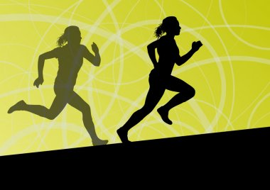 Active women sport athletics running silhouettes illustration ab