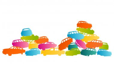 Iron scrap car junkyard vector background landscape concept
