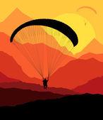 Paragliding vektorové pozadí krajiny koncept vektor