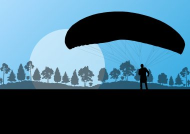 Paragliding vector background landscape concept vector