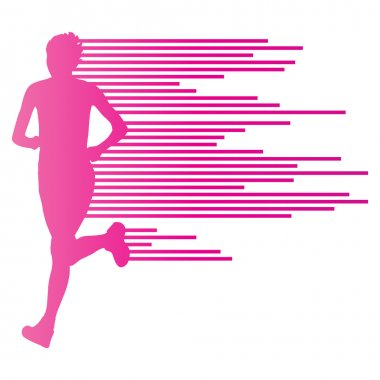 Woman runner silhouette vector background template concept made