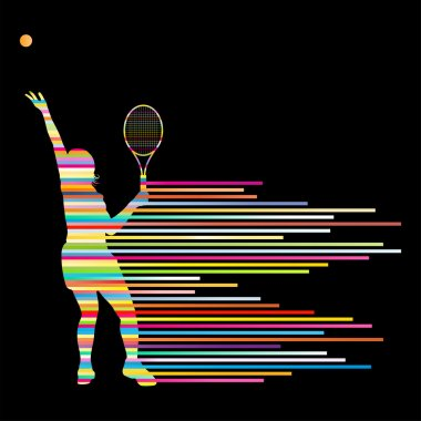 Tennis player abstract vector background concept made of stripes