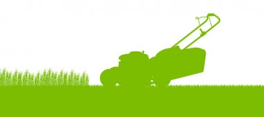 Lawnmower tractor cutting grass in field landscape abstract back
