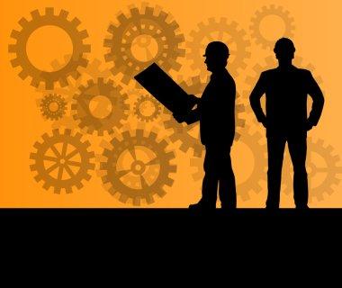 Engineer in front of gear industry vector