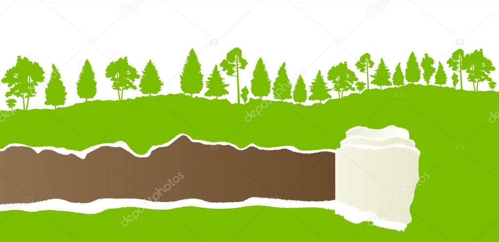 Ecology concept detailed forest tree illustration vector backgro
