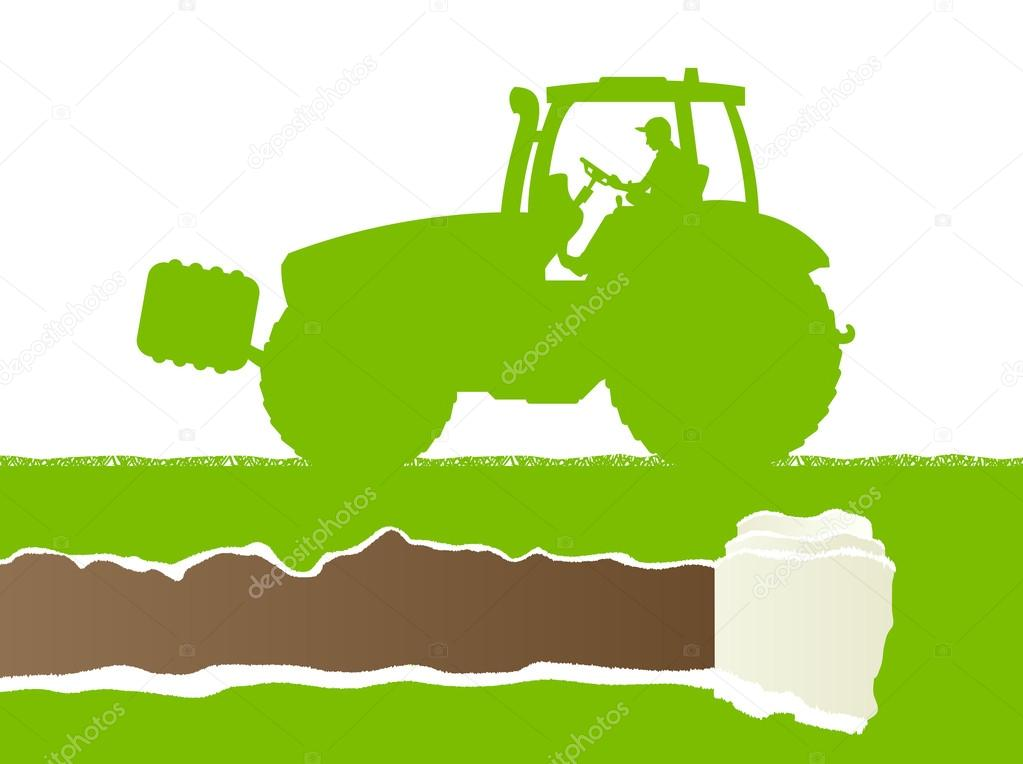 Farmers agriculture tractor in cultivated country grain field la