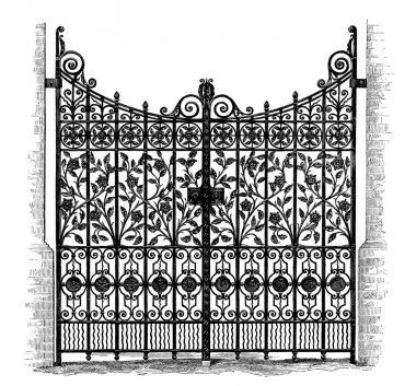 Wrought Iron Gates, vintage engraved illustration