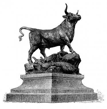 Bull, vintage engraved illustration