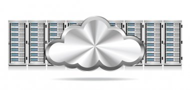 Row of Network Servers with Cloud