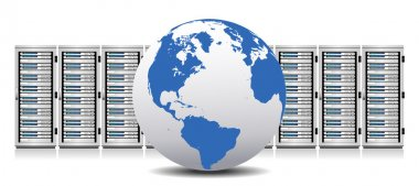 Row of Network Servers with Globe