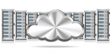 Network Servers with Cloud Icon