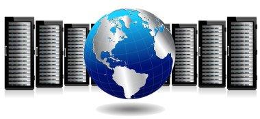 Data Storage System - Row of Network Servers with Globe