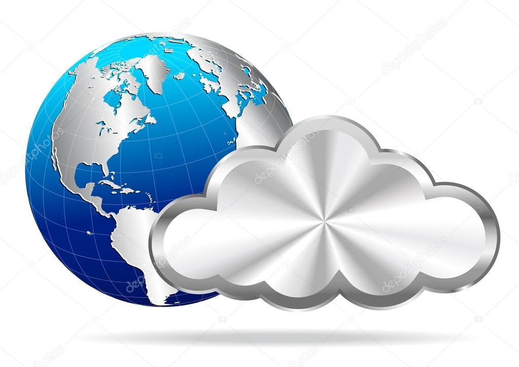 Earth Globe with Silver Cloud- Cloud Computing